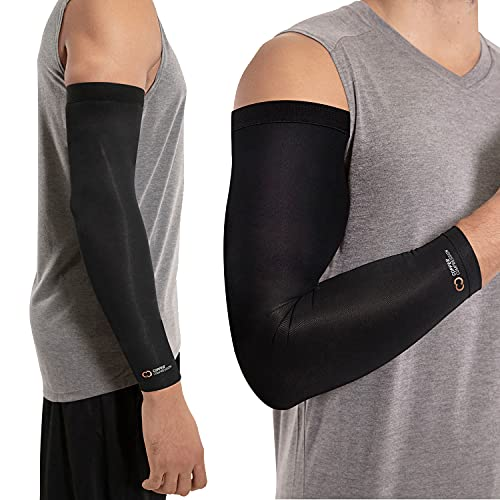 Copper Compression Arm Sleeve. Guaranteed Highest Copper Infused Sleeves for Arms, Forearm, Elbow Brace. Basketball Shooter Sleeve Also Great for Volleyball, Baseball. Fit for Men and Women. Medium.