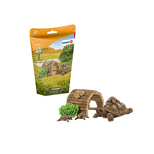 Schleich Wild Life 6-Piece Tortoise Toy Figure with Hatchlings and Turtle Home Playset for Kids Ages 3-8  Brown