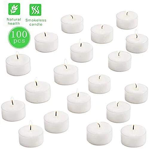 YIIA 8 Hour Long Burn Tea Light Candles with Clear Cup - Pack of 100 White Unscented Tealights in Plastic Holders