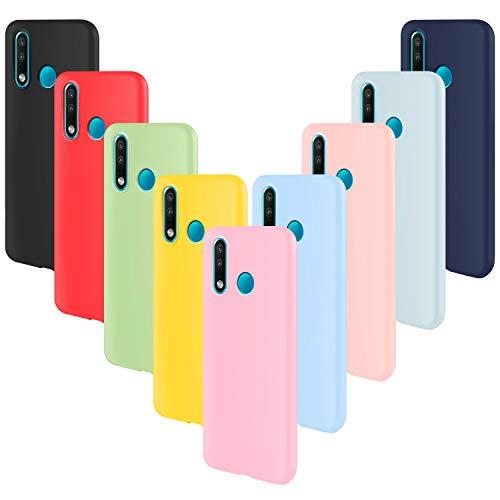 ivencase 9 × Funda Huawei P30 Lite, Carcasa Fina TPU Flexible Cover para Huawei P30 Lite (Rosa Gris Rosa Claro Amarillo Rojo Azul Oscuro Translúcido Negro Azul Claro)