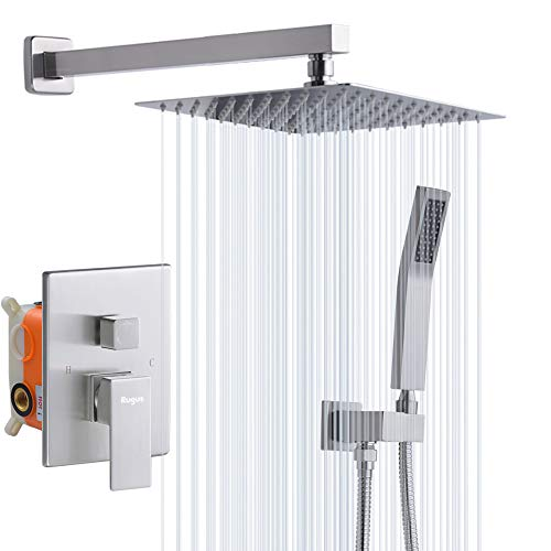 Rugus Shower System,Luxury Rain Mixer Shower Combo Set Wall Mounted Rainfall Shower Head System,10 Inch Square Rain Shower Head,Brushed Nickel(Contain Shower faucet rough-in valve body and trim) Bath Shower Mixer Kit