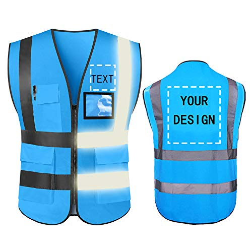 High Visibility Safety Vest Custom Your Logo Protective Workwear 5 Pockets With Reflective Strips Outdoor Work Vest (Blue (XL))