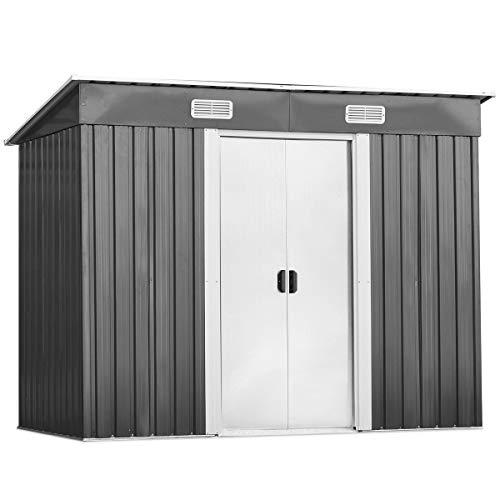 *DREAMADE Gerätehaus aus Metall, Gartenhaus mit 2 Schiebetüren & 4 Fenster, Geräteschuppen mit Pultdach, Garten Schuppen Outdoor, UV-beständig und Wetterfest, 131 x 238 x 181 cm*