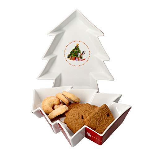 Van Well 2er Set Keksteller Weihnachtszauber Tannen-Form weiß Porzellan I mit Weihnachtsdekor I Weihnachten, Nikolaus, Advent I Gebäckteller, Plätzchen, Platte I Christmas I X-Mas