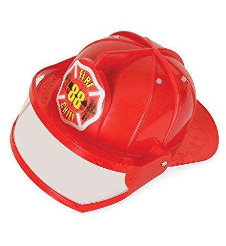Feuerwehr-Helm mit Visier, in rot für Erwachsene, Einheitsgröße (bietet KEIN Schutz!)