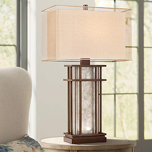Rhodes Farmhouse Table Lamp with Nightlight LED Rustic Bronze Mica Glass Boxy Neutral Shade Decor for Living Room Bedroom House Bedside Nightstand Home Office Reading Family - Franklin Iron Works