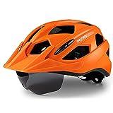 Casco da bici per adulti con luce posteriore ricaricabile, casco da ciclista con occhiali magnetici con visiera staccabile per uomini e donne (58-62cm)