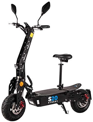 eFlux S20 Elektroroller Scooter - 600 Watt Hubmotor - Straßenzulassung - 20 Km/h Geschwindigkeit - Lithium Ionen Akku - E-Scooter (S20 Schwarz)