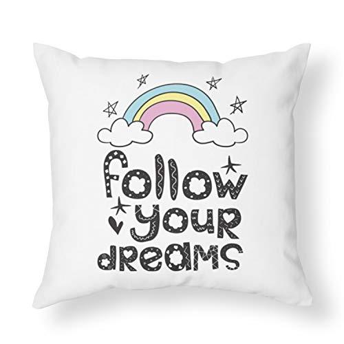 Alicert5II volgt je dromen kussen meisjes kussen regenboog kussen kussen goedkope geschenken kussen voor bank schattige kussen sterren droomkussen