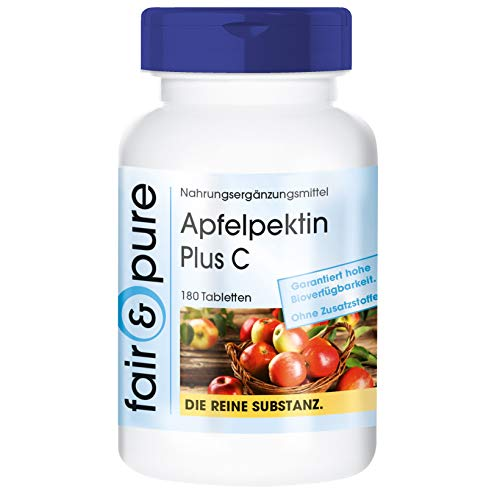Apfelpektin mit Vitamin C & Calcium - vegan - natürlicher Ballaststoff - 180 Tabletten - ohne Magnesiumstearat