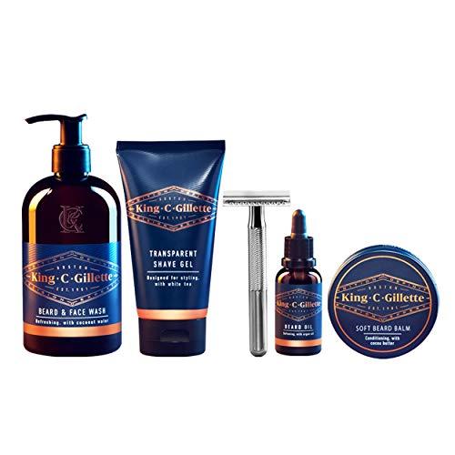King C. Gillette Complete Men's Beard Care Gift Kit, Double Edge Safety Razor, Beard and Face Wash, Beard Oil, Beard...