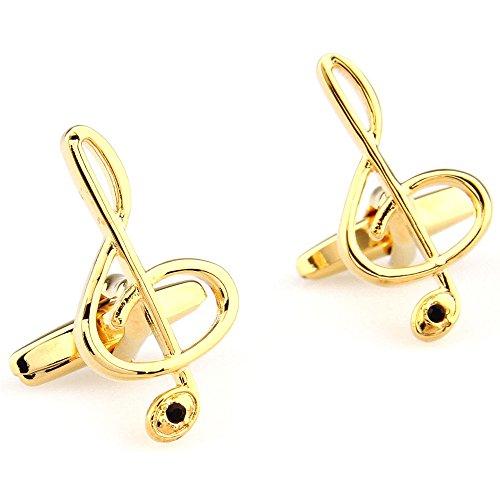 Music Notes Music Symbol Unisex French Shirt Cufflinks Gold (one pair)