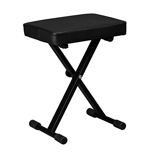 Big Save! Kuyal Piano Bench, Adjustable Height Keyboard Bench, Padded Seat, X-Style Stool, Black
