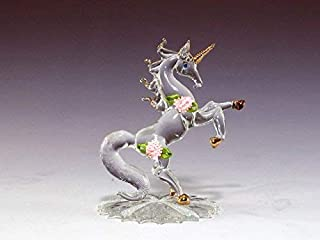 DAR Giftware Blown Glass Unicorn with Satin Roses Figurine Collectible 4.25 Inches Tall