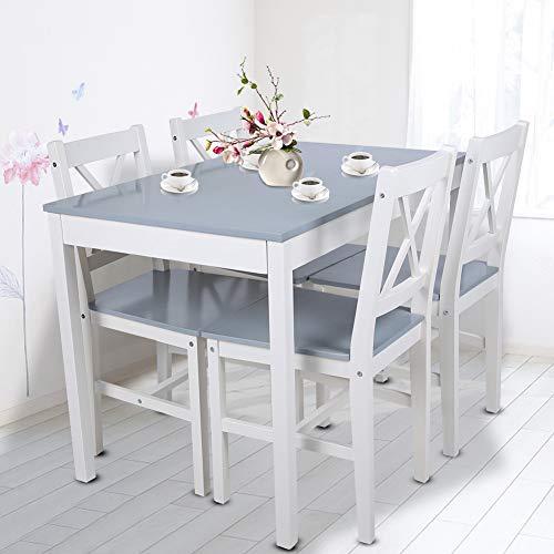 Ejoyous Hölzerner Esstisch mit 4 Stühlen Esszimmerset, einfaches modernes Tischstuhlset für Esszimmer Wohnzimmer Küche, Robustes Massivholzmaterial Esszimmermöbel Set(Bläuliches Grau)