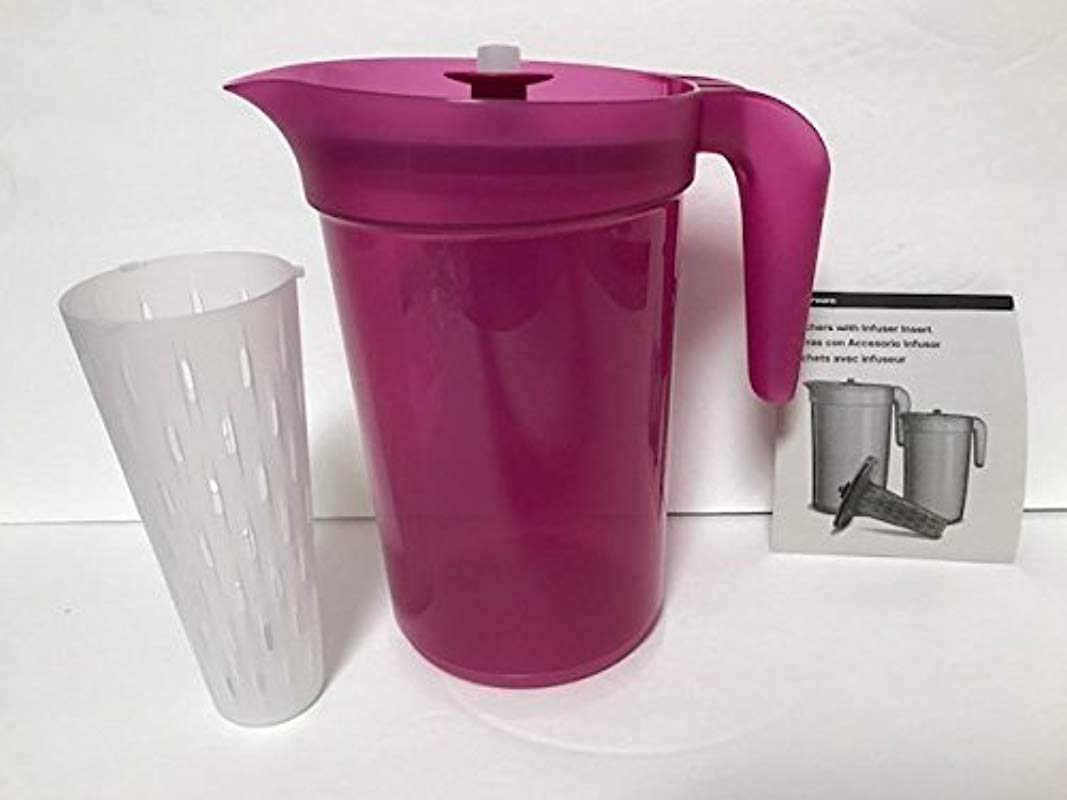 Tupperware Classic Sheer 2 Quart Pitcher In Fuchsia Pink With Infuser Insert