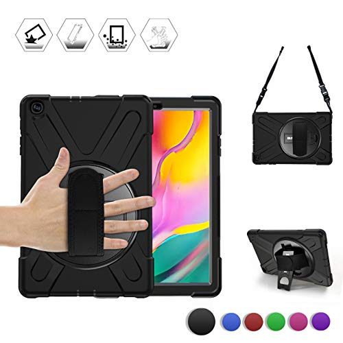 Samsung Galaxy Tab A 10.1 2019 Case, BRAECN Rugged Shockproof Dropproof Case Cover with Rotating Hand Strap/Kickstand and Carrying Shoulder Strap for Galaxy Tab A 10.1 Inch 2019 T510 T515 Tablet-Black