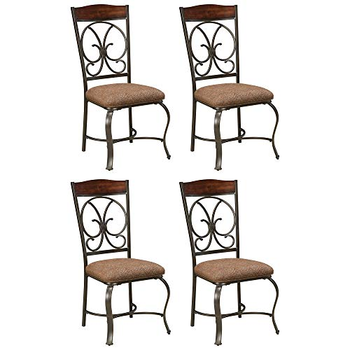 Signature Design by Ashley - Glambrey Dining Room Chair Set - Scrolled Metal Accents - Set of 4 - Brown
