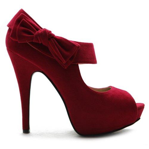 Ollio Women's Shoes Platform Open Toe High Heels Ribbon Accent Multi Colors Pumps ZM13909(9 B(M) US, Red)