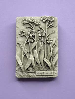 Carruth Studio, Forget-Me-Not Wall Plaque Figurine, Original Sculpture Handcrafted in Stone, Artisan Made