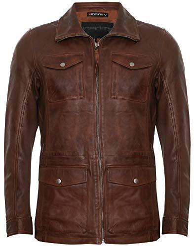 Infinity Leather Trench Multitasche Casual Uomo di Pelle Marrone Chiaro L