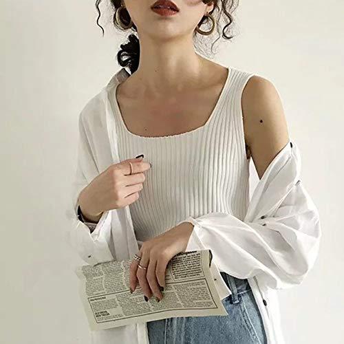 Mouwloze vierkante kraag Sling Vest Fashion Casual Wild breien hemd Soild kleur Vrouwen Tank Tops Nieuw