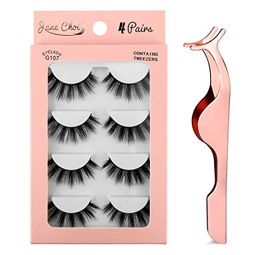 False Eyelashes, 3D Faux Mink False Lashes Reusable Long Thick Eyelashes for Makeup Eyelashes Extension, 4 Pairs Hand-made Dramatic Fake Eye Lashes with Eyelashes Clip (G107)