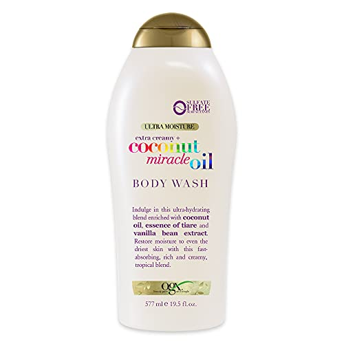 OGX Extra Creamy + Coconut Miracle Oil Ultra Moisture Body Wash, Exclusive, 19.5 Fl Oz