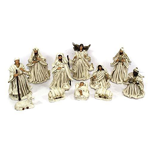 Aurora Store Set Natività Bianca Presepe Statuine in Resina 8 Soggetti da h.14 cm Gesù Bambino Maria Giuseppe