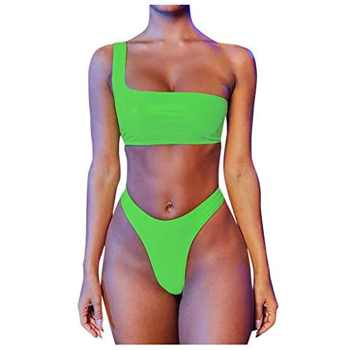 Lazzboy Frauen Bandeau Bandage Bikini Set Push-up Brasilianische Badebekleidung Beachwear Badeanzug Damen Texturiert Spaghetti-träger Gepolstert(Grün,XL)