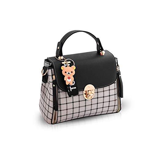 NICOLE&DORIS Handtaschen für Damen Niedliche Umhängetasche Mädchen Reißverschluss Handtasche PU Leder Schultertasche Crossbody Bag Schwarz