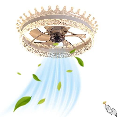 Fan Lámpara de Techo LED Moderna Regulable con Control Remoto, Fan Luz de Techo Silencioso Dormitorio, Decoración de Cristal, Ventilador con Iluminación Ultradelgado, 3 Velocidades de Viento, Ø57CM