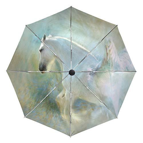 Kleiner Reiseschirm Winddicht Outdoor Regen Sonne UV Auto Compact 3-Fach Regenschirmabdeckung - Angelic Wings Heavenly Shire Horse Pegasus