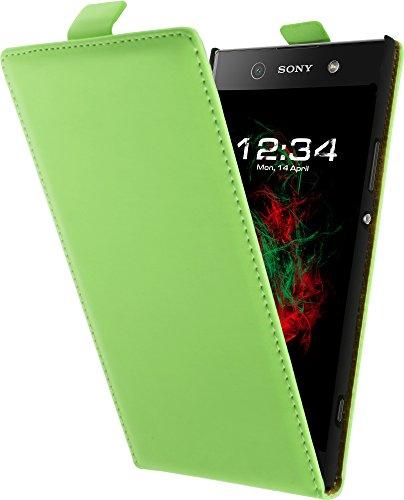 Baluum Hülle Kunstleder Grün Flip Hülle für Sony Xperia XA1 Ultra aufklappbare Lederhülle Schutzhülle Cover
