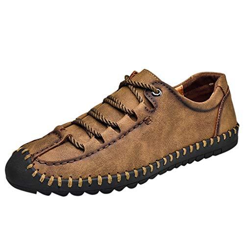 Geilisungren Herren Sneaker Sommer Herbst Mode PU-Lederoptik Halbschuhe Männer Übergrößen Flache Schnürschuhe Leichte Turnschuhe Sportschuhe Fahrschuhe Outdoor Vielseitige Schuhe