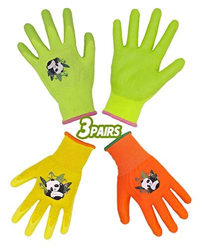 HANDLANDY Guantes de jardinería para niños de 2 a 13 años, 3 pares de guantes de jardín con revestimiento de goma para niños, niñas y jóvenes (talla 4)