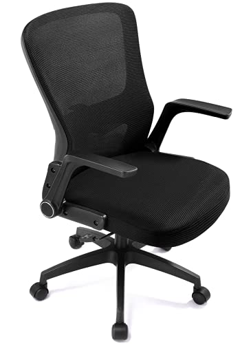 Lucklife Ergonomic Office Chair Desk Chair Modern Executive Home Office Chair,Comfortable Mid Back PC Swivel Mesh Office Chair with Adjustable Arms and Lumbar Support (Black)