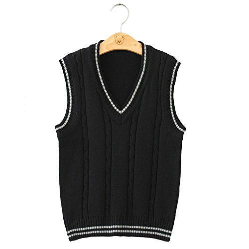 Men Women Knitted Cotton V-Neck Vest JK Uniform Pullover Sleeveless Sweater School Cardigan Black