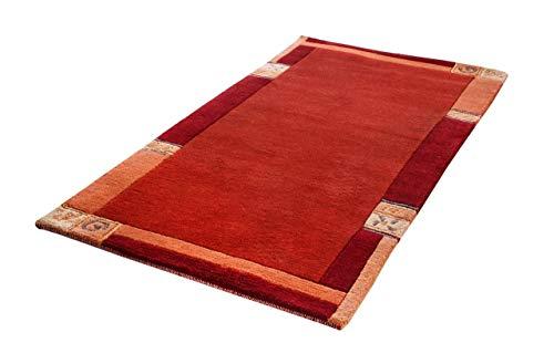 Indo Nepal Teppich Urbana Wolle Natur Rot