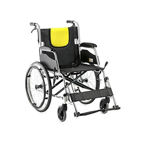 WXDP Rollstuhl mit Selbstantrieb und faltbarer Legierung, geeignet für ältere Menschen, Behinderte, leichte Aluminium-Legierung, zusammenklappbar, manuell, Alter Trolley