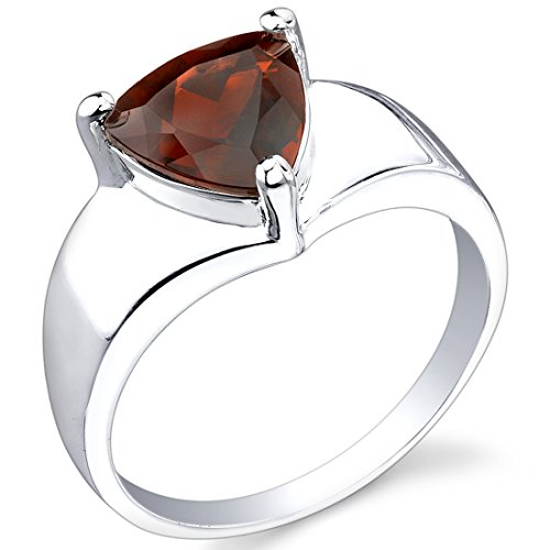 Peora Garnet Ring in Sterling Silver, Minimalist Solitaire, Trillion Cut 8mm, 2.25 Carats, Comfort Fit, Size 6 Comfort Fit Solitaire Setting