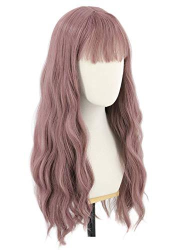 Topcosplay Lang Gewellt Perücke für Frauen Super Natürlich Synthetische Wig Locken Perücken für Anime Cosplay Kostümparty Halloween Karneval (Lila)