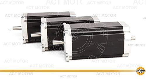 ACT Motor GmbH Nema23, 3 motori 23HS2430B, 112mm, 3A, 2,8 Nm, doppio albero rotondo, Ø 8mm, per Automazione, stampante 3D, macchina di strumentazione, CNC