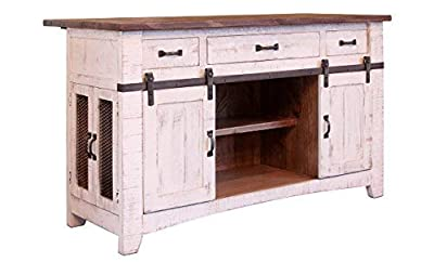 Crafters and Weavers Greenview 3 Drawer Kitchen Island w/2 sliding doors & 2 Mesh doors / Kitchen Counter from Crafters and Weavers