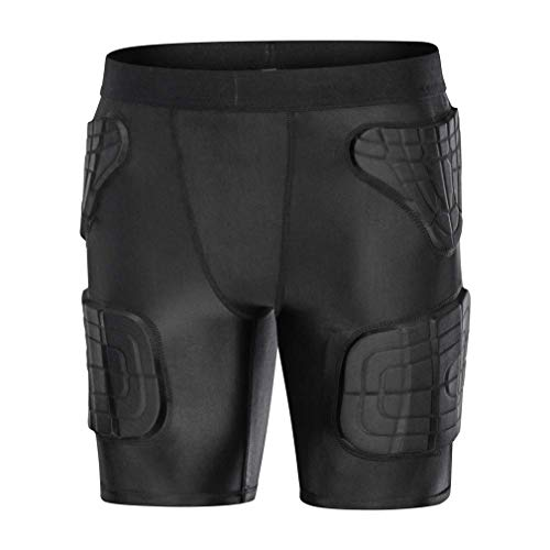 Youth Kids Hockey Protective Gear Padded Football Shorts for Basketball Ice Skating Snowboard Soccer Baseball Volleyball Black YL