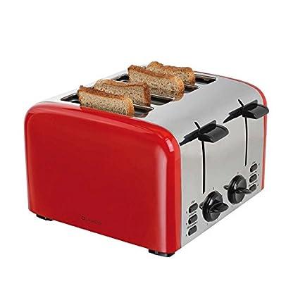 Edelstahl-4-Scheiben-Toaster-Broetchenaufsatz-1500-Watt-Grosser-Toastautomat-5-Stufen-Kruemelschublade-Aufwaermfunktion-Kontrollleuchten-Retro-Rot
