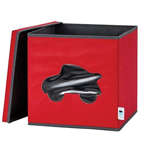 STORE IT Spielzeugkiste mit Sichtfenster, Vlies Material, Auto - rot/grau, 30 x 30 x 30 cm
