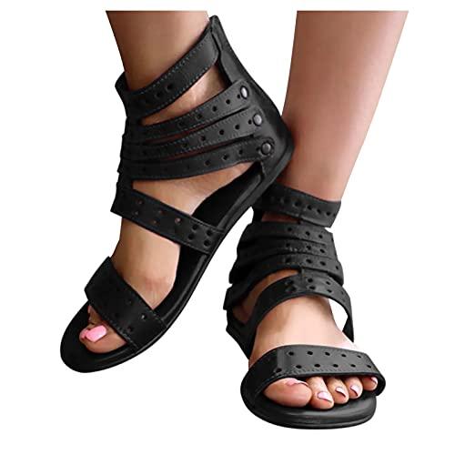 Sandales rétro pour femme - Grandes tailles - Sandales plates - Avec fermeture éclair - Sandales confortables et respirantes - Pour les loisirs