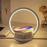 Lampe de Chevet Chargeur sans Fil Bluetooth Enceinte Lampe Tactile Chargeur Veilleuse Lampe Bureau Induction Lampe Tactile 3 Intensité Lampe Chevet Qi Chargeur pour 1Phone12 Samsung Huawei (Beige)