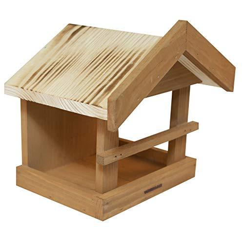 Windhager Vogelfutterhaus Wildspitze, Vogelfuttersilo, Vogelhaus, Futterspender für Vögel, mit Öse zur Wandmontage, Vogelhäuschen aus Massivholz, 06954